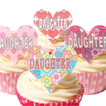 12 PRE CUT EDIBLE RICE WAFER CARD DAUGHTER CUPCAKE  TOPPERS