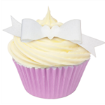10 PRE CUT EDIBLE RICE WAFER PAPER WHITE BOWS CUPCAKE PARTY TOPPERS