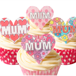 12 PRE CUT EDIBLE RICE WAFER CARD MUM MOTHER'S DAY CUPCAKE  TOPPERS