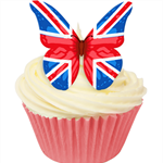 12 PRE CUT EDIBLE RICE WAFER CARD UNION JACK BUTTERFLY CUPCAKE  TOPPERS