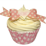 10 PRE CUT EDIBLE RICE WAFER PAPER PINK POLKA DOT BOWS CUPCAKE PARTY TOPPERS