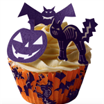 12 PRE CUT EDIBLE RICE WAFER CARD HALLOWEEN BAT,CAT,PUMPKIN CUPCAKE PARTY TOPPER