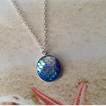 Mermaid Scale Blue Green Resin Cabochon Silver Plated 18mm Setting with Chain