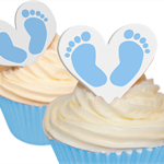 12 PRE CUT EDIBLE RICE WAFER CARD BLUE BABY FEET HEART CUPCAKE TOPPERS