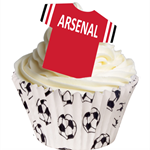 12 PRE CUT EDIBLE RICE WAFER CARD ARSENAL FOOTBALL SHIRT CUPCAKE  TOPPERS