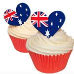 12 PRE CUT EDIBLE RICE WAFER PAPER AUSTRALIA FLAG HEART CUPCAKE PARTY TOPPER