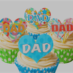 12 PRE CUT EDIBLE RICE WAFER CARD DAD FATHER'S DAY CUPCAKE  TOPPERS