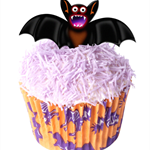 12 PRE CUT EDIBLE RICE WAFER CARD HALLOWEEN BATS CUPCAKE PARTY TOPPERS