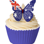 12 PRE CUT EDIBLE RICE WAFER CARD AUSTRALIA FLAG BUTTERFLY CUPCAKE  TOPPERS