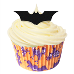 12 PRE CUT EDIBLE RICE WAFER CARD HALLOWEEN BATS BATMAN CUPCAKE PARTY TOPPERS