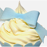 10 PRE CUT EDIBLE RICE WAFER PAPER BABY BLUE BOWS CUPCAKE PARTY TOPPERS