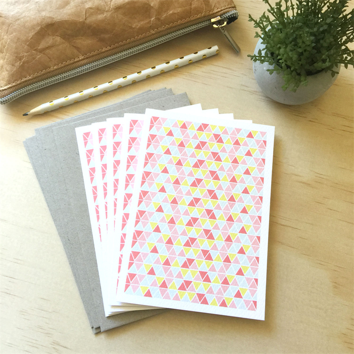 blank card pack  geometric triangles pink  set of 5