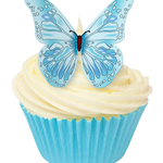 12 PRE CUT EDIBLE RICE WAFER PAPER BLUE BUTTERFLY CUPCAKE PARTY TOPPERS