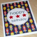 Kids Happy Birthday card - rockets
