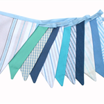 Blue, Aqua and Stripe BOYS Bunting. Party,  Banner Decoration OOAK
