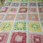 Patchwork Crochet Blanket/Chenille Variegated Patchwork Crochet Blanket