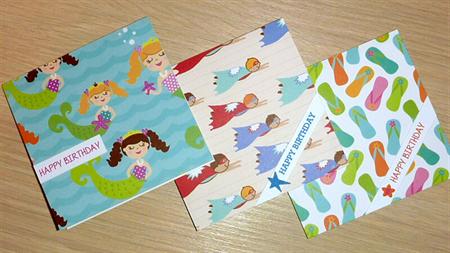 Set 3 Kids birthday cards - mermaids - superhero - flip flops