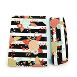 A5 Journal Notebook Cover with Matching Pencil Case - Black Stripe Floral
