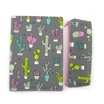 A5 Journal Notebook Cover with Matching Pencil Case - Grey Cactus
