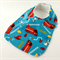 Baby/Infant Bib Fire Trucks, Cotton Fabric, Bamboo Toweling, and Snap Fastened.