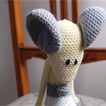 Maurice the house mouse in lemon, white & grey: OOAK, safe, washable, crochet