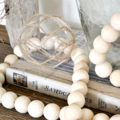 Farmhouse Beads Wooden Bead Garland 175cm Natural Hamptons Boho Home Decor