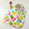 Baby Bib Little Birds, Cotton Fabric, Bamboo Toweling, and Snap Fastened.
