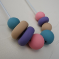 Polymer clay beaded necklace, polymer clay, jewellery, pastels, FREE postage