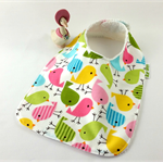 Baby/Infant Bib Little Birds, Cotton Fabric, Bamboo Toweling, and Snap Fastened.
