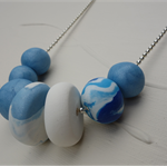 Polymer clay beaded necklace, polymer clay jewellery, blue, white, FREE postage