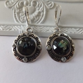 Antique Silver with Black Opal Sparkle Cabochon Charm Earrings with Nickel free