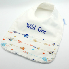 Baby-Feeder Dribble Bib, Wild One Cotton Fabric Bamboo Toweling Snap Fastened