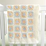 Crochet blanket, wool, white, pastel, bedding, pink, mint, yellow