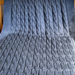 Hand knitted THROW, super soft Bamboo/Wool Mix