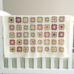 Crochet blanket, wool, white, multicoloured, bedding, pink