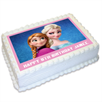 Frozen Anna Elsa Personalised A4 Edible Cake Topper