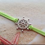 Nautical Ships Wheel Green Velvet Cord Bracelet