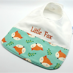 Baby-Feeder Dribble Bib, Little Fox Cotton Fabric Bamboo Toweling Snap Fastened