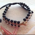 Braided Unisex Adjustable Black Wood Beaded Real Shark Tooth Bracelet