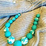 Aqua Dreams Polymer Clay Necklace; Polymer Clay Jewelry