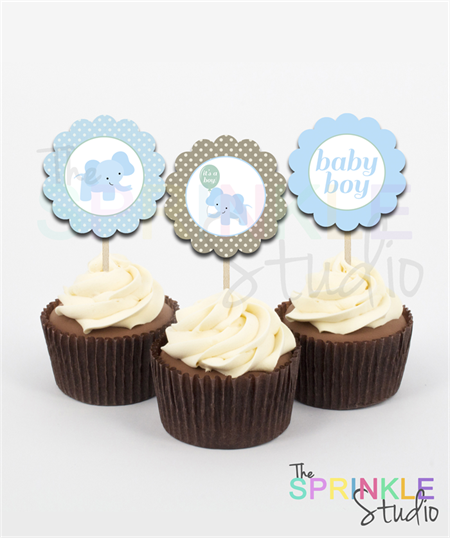 Cupcake Toppers ~ baby boy elephant ~ set 12