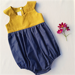 Mustard and Navy baby girl playsuit, baby girl romper, toddler girl playsuit