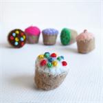 Fairy Cakes Miniature Felt Cupcake Set  Tiny felt food toy