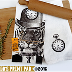 Hand screen printed 'Tick Tick Tiger' Linen Tea Towel