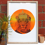 Hand screen printed 'Neon Leo' (A3) art print
