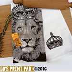 Hand screen printed 'King Leo' Linen Tea Towel