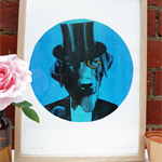 Hand screen printed 'Show Dog' (A3) art print
