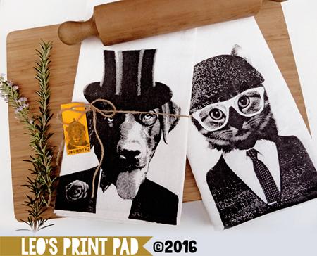 Hand screen printed 'BFFFs (best furry friends forever)' Linen Tea Towel