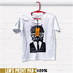 Hand screen printed 'Cool Cat White' Toddler T-shirt