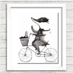 B is for Badger in a bow on a bike with a basket of bread.